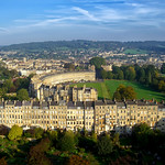 Royal Crescent and Marlborough Buildings -  Aerial Image of Bath, Somerset, UK
