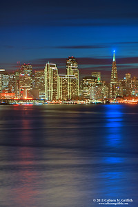 Patriotic San Francisco ©  2011 Colleen M. Griffith. All Rights Reserved. This material may not be published, broadcast, modified, or redistributed  without written agreement with the creator.  This image is registered with the US Copyright Office. www.colleenmgriffith.com www.facebook.com/colleen.griffith  I just love the beautiful blue colors of the sky and the Red, White, and Blue reflections in this photo. You can see more of my San Francisco Shots, by going to my San Francisco gallery: www.colleenmgriffith.com/Galleries/San-Francisco/San-Francisco