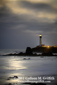 Mystic ©  2011 Colleen M. Griffith. All Rights Reserved.  This material may not be published, broadcast, modified, or redistributed without written agreement with the creator.  This image is registered with the US Copyright Office. www.colleenmgriffith.com www.facebook.com/colleen.griffith  This northern pacific coast lighthouse is located just south of Pescadero and Half Moon Bay, two cute little coastal towns easily accessible from San Francisco, California.  I captured this moonset photo the morning the moon was it's closest to the earth in the past 18 years, March 19 2010.  The sun still had not risen, so, the light you see in the clouds and reflected on the ocean was from the incredibly bright full moon as it was setting over the Pacific Ocean. We've had virtually non-stop rain over the past week, and this morning was no different - so I was lucky the moon peeked out of the clouds just a bit to add some mystical moonlight to the ocean and clouds.