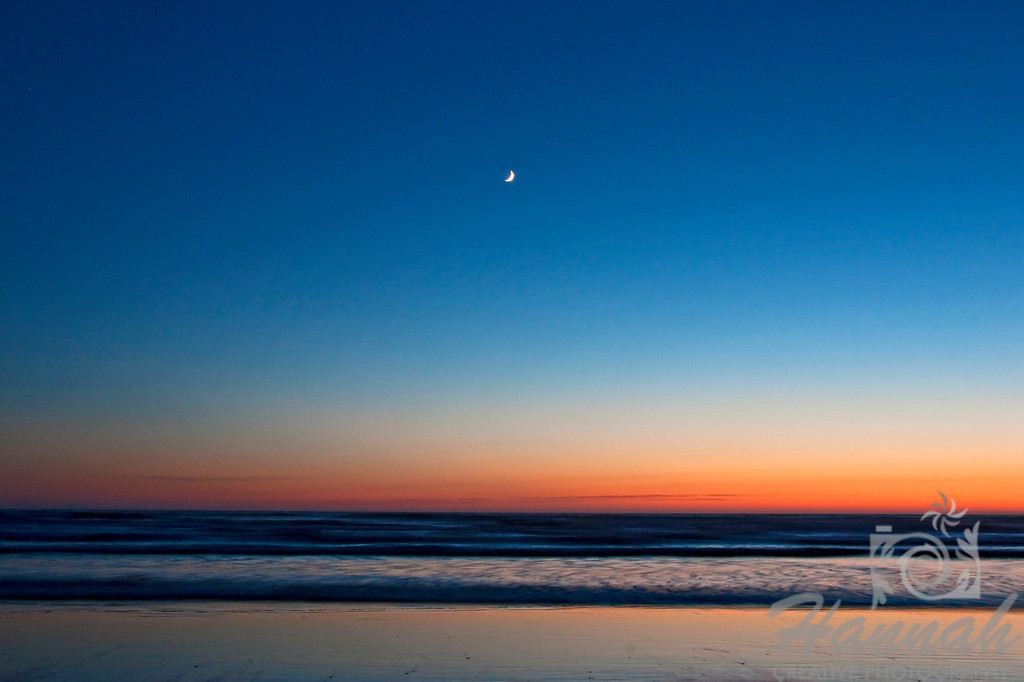 A crescent moon shot during dusk at Cannon Beach in the Oregon Coast  © Copyright Hannah Pastrana Prieto