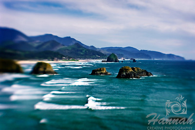 Cannon Beach, Oregon Coast ... View of the rock formations and Haystack Rock Shot from the Ecola State Park using the Lensbaby composer with double glass optic  © Copyright Hannah Pastrana Prieto