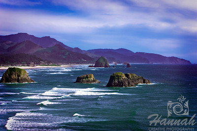 Cannon Beach, Oregon Coast ... View of the rock formations and Haystack Rock Shot from the Ecola State Park  © Copyright Hannah Pastrana Prieto