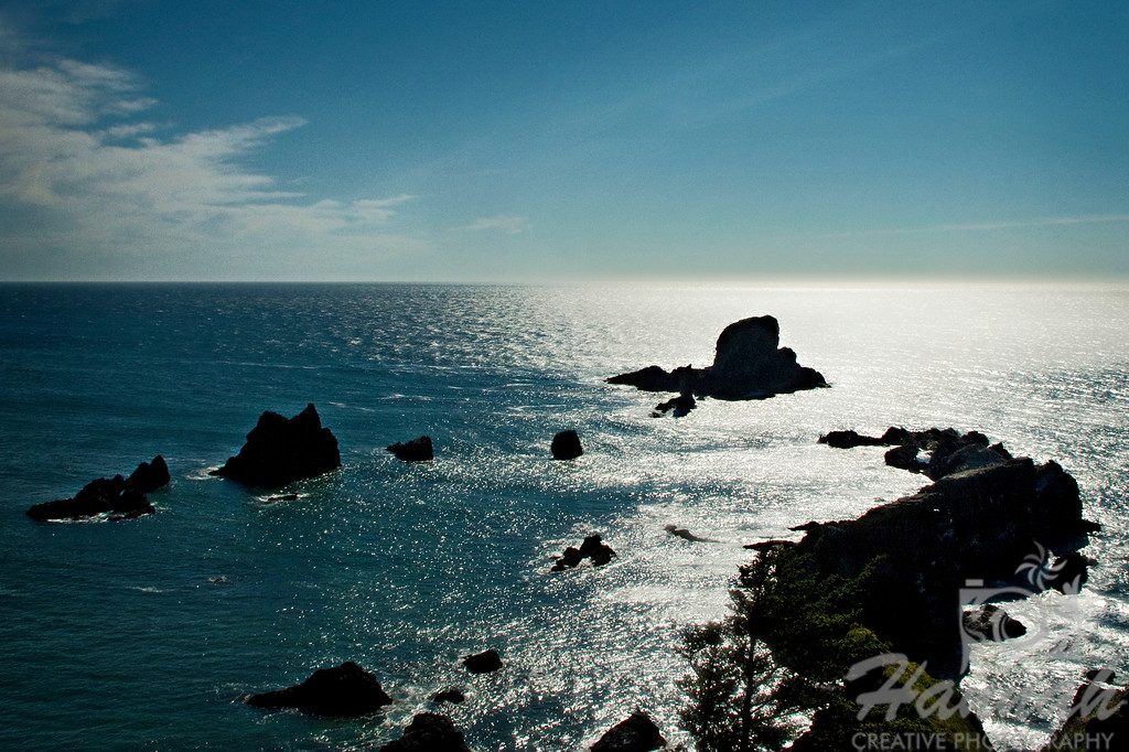 Cannon Beach, Oregon Coast ... View of the Sea Lion Rock formations in silhouette and backlighting shot. Shot from the Ecola State Park  © Copyright Hannah Pastrana Prieto