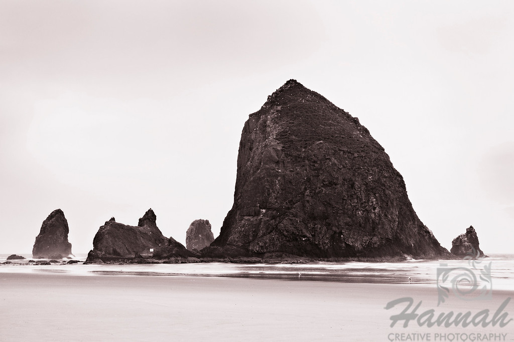 Monochrome view of Haystack Rock located in Cannon Beach, Oregon Coast  © Copyright Hannah Pastrana Prieto
