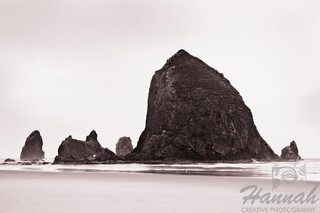 Monochrome view of Haystack Rock located in Cannon Beach, Oregon Coast  © Copyright Hannah Pastrana Prieto