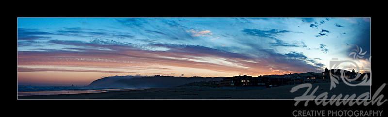 Panorama of Cannon Beach in the Oregon Coast with black framed border ... Shot at dawn  © Copyright Hannah Pastrana Prieto