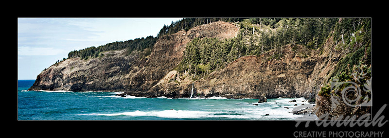 Panorama of Cape Meares located in the Oregon Coast with black framed border  © Copyright Hannah Pastrana Prieto