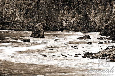 View of the rock formations at the side of the cliffs of Cape Meares located in the Oregon Coast in monochrome shot  © Copyright Hannah Pastrana Prieto