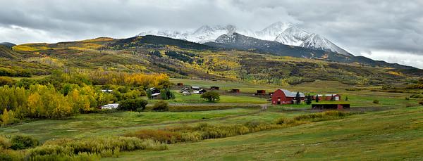 Mt. Sopris pastoral scene, as winter comes, chasing fall