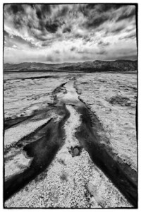 Water flowing into the Salt Flats near Furnace Creek, Death Valley.