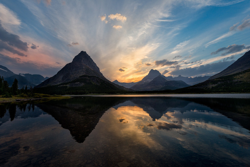 Sunset at Swiftcurrent Lake<br /> Many Glacier area