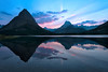 Pink glow of sunset<br /> Swiftcurrent Lake<br /> Many Glacier