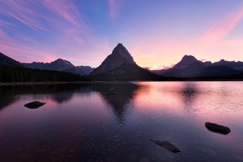 Sunset at Swiftcurrent Lake<br /> Many Glacier