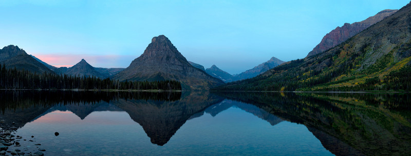 Two Medicine Lake at dawn, with fall color
