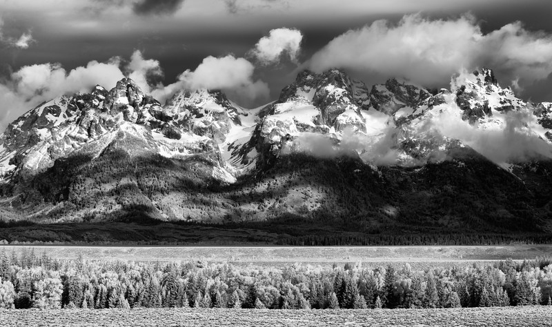 The Grand Teton range in black and white