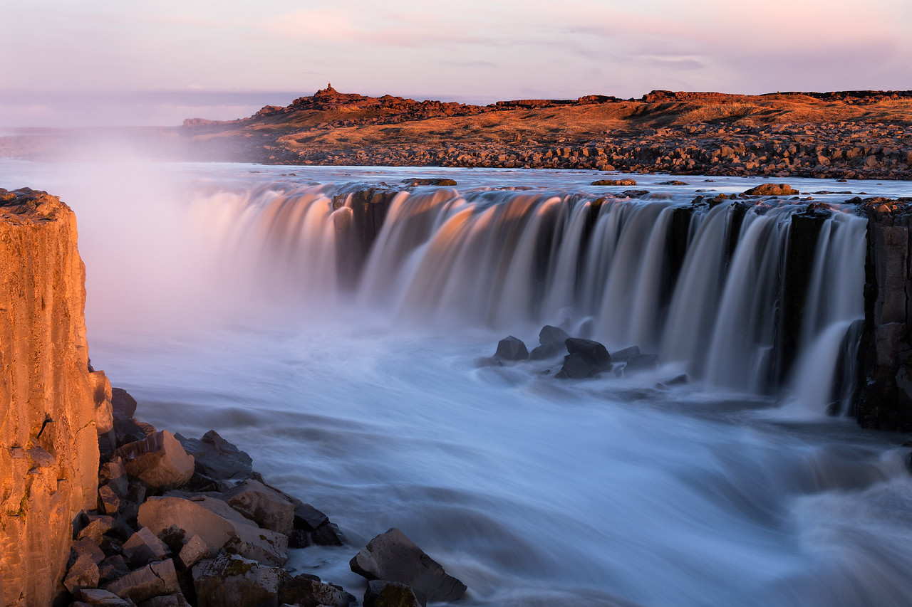 """Sunset at Selfoss"""