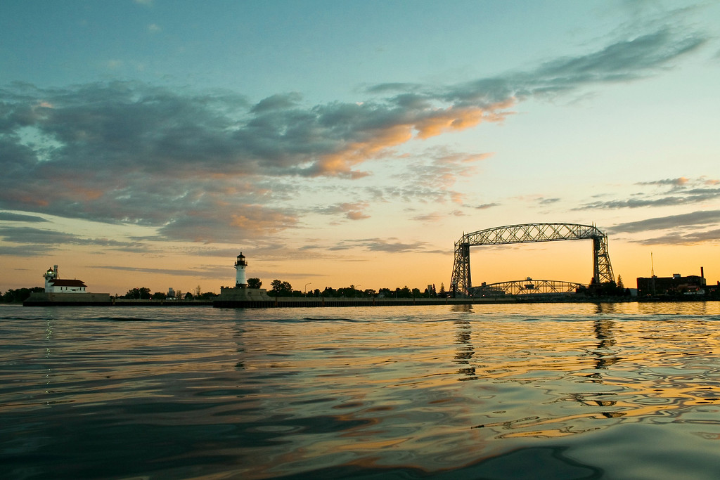Duluth,MN lift bridge with lighthouses from the harbor