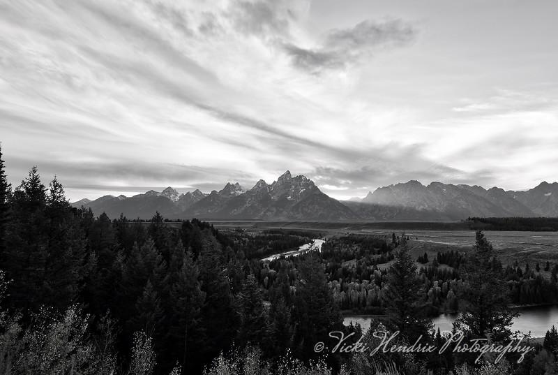 Dusk at Snake River in Black & White