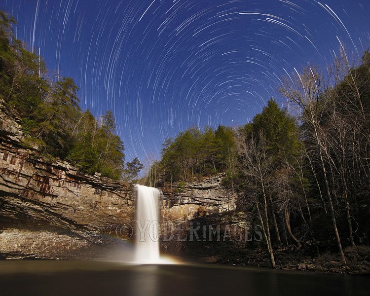 Star trails over Foster Falls,  Marion County, Tennessee