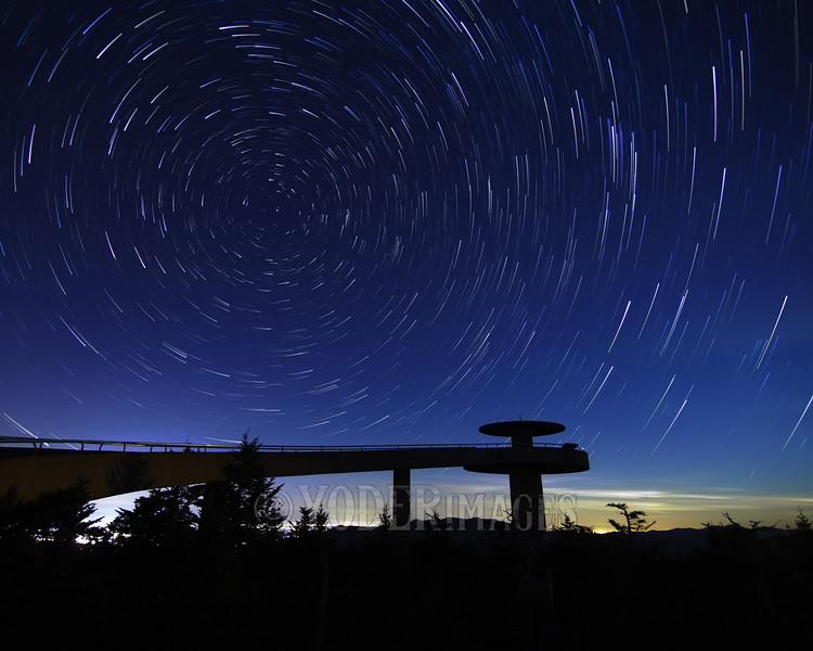 Star trails over the Clingman's Dome observation tower, Great Smoky Mountains National Park.
