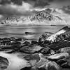 SKAGSTANDEN BEACH, LOFOTEN (BLACK & WHITE)