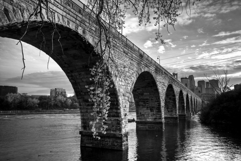 Stone Arch Bridge with Downtown Minneapolis