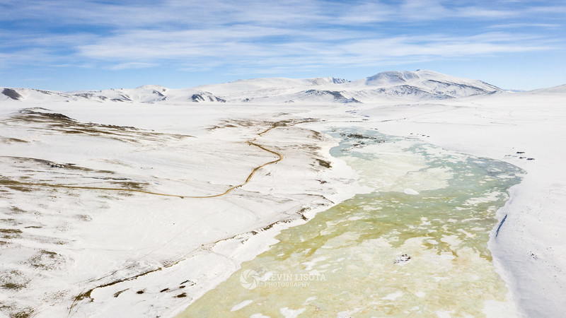 Frozen river in the Altai Mountains of Western Mongolia