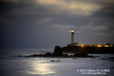 Mystical Moonlight © 2011 Colleen M. Griffith  This northern pacific coast lighthouse is located just south of Pescadero and Half Moon Bay, two cute little coastal towns easily accessible from San Francisco, California.  I captured this moonset photo the day the moon was it's closest to the earth in the past 18 years, March 19 2010.  So, the light you see in the clouds and reflected on the ocean were from the incredibly bright full moon as it was setting over the Pacific Ocean.  As you can see, this was a very stormy day, and the clouds added some nice character to the shot.  I have posted several versions of this shot, and you can see them all by navigating to www.colleenmgriffith.com/Galleries/Sunsets-And-Lighthouses/Lighthouses