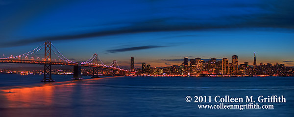 San Francisco Twilight ©  2011 Colleen M. Griffith. All Rights Reserved. This material may not be published, broadcast, modified, or redistributed  without written agreement with the creator.  This image is registered with the US Copyright Office. Friend Colleen on Facebook  This photo captures the special city lights that are visible only during the holiday season.  It will print well in an 8x20, 11x28, or 12x30 inch format.  You can find additional cropped versions of this photo in my Panoramics Gallery:  www.colleenmgriffith.com/Galleries/California/Panoramics  You can see more of my city shots in my San Francisco gallery: www.colleenmgriffith.com/Galleries/California/San-Francisco