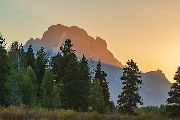 Last Rays as the Sun Sets on Mt. Moran