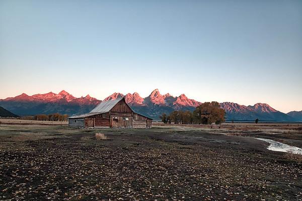 Sunrise Alpenglow on the Tetons