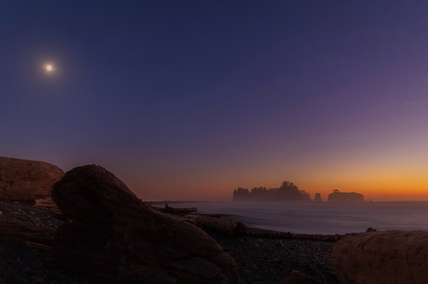 Moon rises over Rialto Beach and James Island - LaPush, Washington