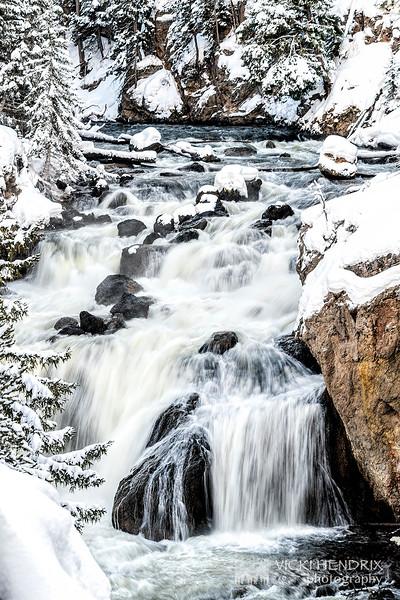 Wintry Firehole Falls - Yellowstone National Park