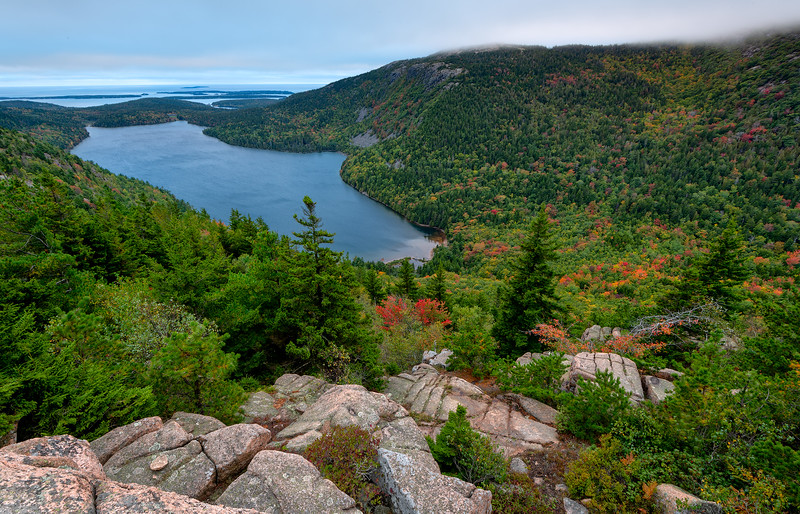 Sunset over Jordan Pond from the South Bubble with emerging fall color