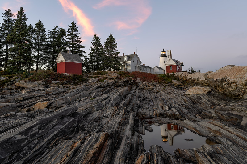 Pemaquid Point Lighthouse at sunset