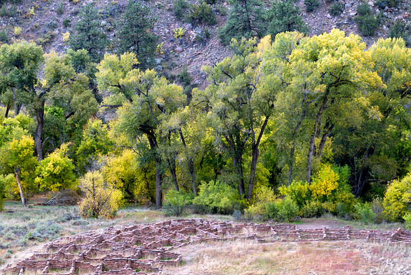 Pueblo ruins in fall at Bandolier National Monument