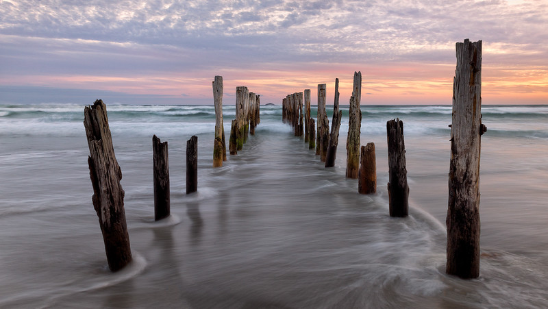 Sunset at St. Clair Beach, Dunedin, South Island, New Zealand