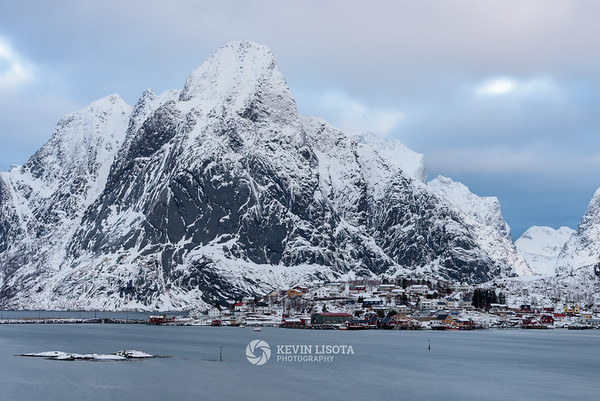 The village of Reine, Norway with Olstind mountain