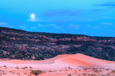 Moonrise over the Coral Sand Dunes.  3 image HDR.