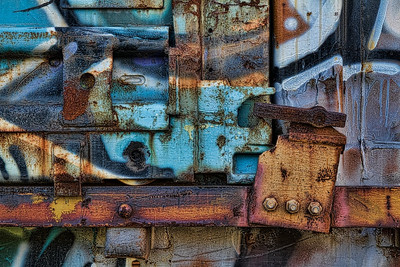 The Latch.  Rail car door detail with graffiti