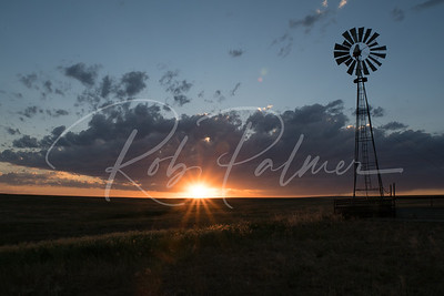 Pawnee Sunset with windmill
