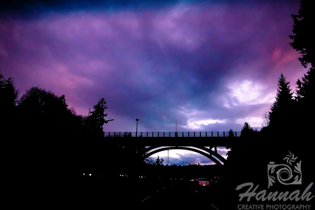 Interstate at Pacific Northwest shot at dusk  © Copyright Hannah Pastrana Prieto