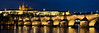 """Castle at Twilight""<br /> <br /> Panorama of St. Charles Bridge and the Prague Castle, Prague, Czech Republic.<br /> <br /> Available in custom sizes, contact me for more info."