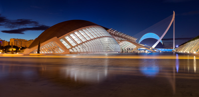 """""""Ciudad de las Artes y las Ciencias""""<br /> <br /> A panorama of the incredible buildings that make up the City of Arts and Sciences in Valencia, Spain.<br /> <br /> Available in custom sizes, contact me for more info."""