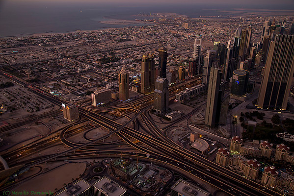 View from the top of Burj Khalifa - Sheikh Zayed Road