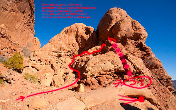 Only spot that yields vantage point for prior photo. RISKY CLIMB! Don't fall! Yikes!  Arches National Park   Utah