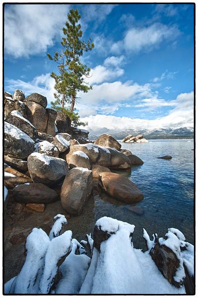 Sand Harbor, Lake Tahoe, Nevada<br /> <br /> ____________Shooting Data___________<br /> Date: November 20, 2011<br /> Time: 08:3402AM<br /> Model: NIKON D3<br /> Lens: Nikkor 14-24 @ 14 mm<br /> Aperture: 16<br /> Exposure compensation: <br /> ISO: 200