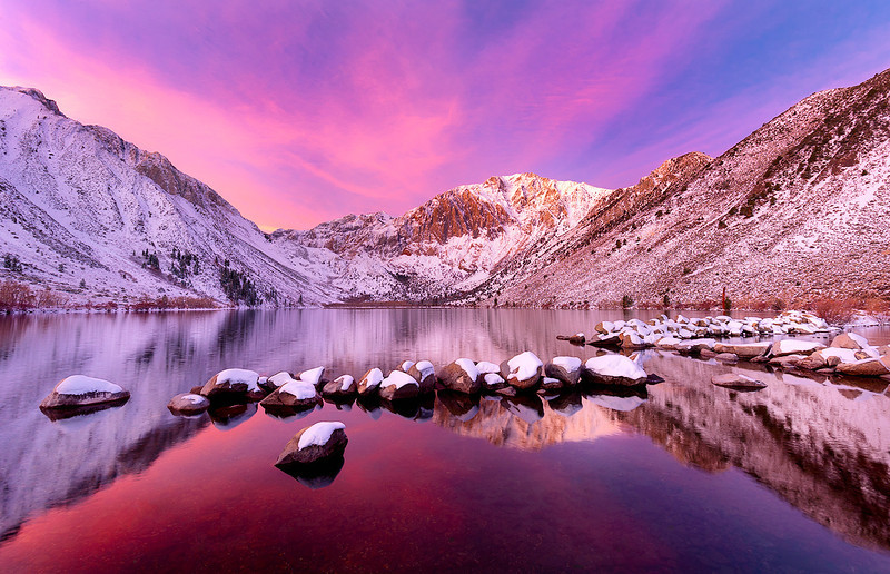 Sunrise at Convict Lake near Mammoth, California<br /> <br /> 11/22/11 at 7:32:07 AM with a NIKON D3 <br /> ISO of 200, shutter speed of 1/1.3 at f/14