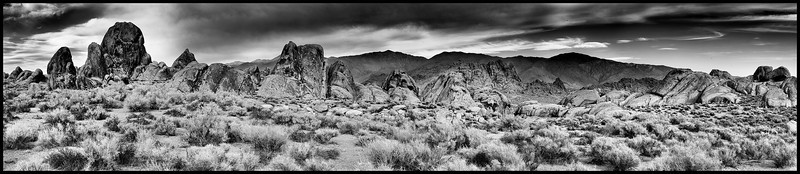 Alabama Hills<br /> 10-shot panorama<br /> <br /> Photo by Ron Bernstein 11/24/11 at 2:54:23 PM with a NIKON D3 set to ISO of 200, shutter speed of 1/80 at f/16.