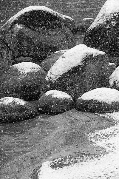 Morning snowfall, Sand Harbor, Lake Tahoe, Nevada<br /> <br /> <br /> <br /> Shooting Data<br /> <br /> Date: November 20, 2011<br /> Time: 07:2157AM<br /> Model: NIKON D3<br /> Lens: <br /> Shutter speed:1/100<br /> Aperture: 13<br /> Exposure compensation: 0.0<br /> ISO: 800
